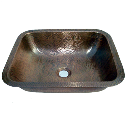 Undermound Rectangular Hammered Copper Sink