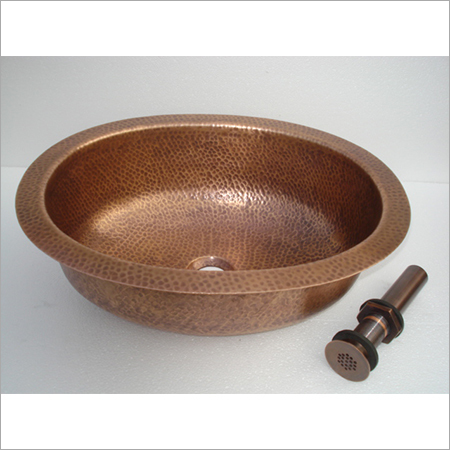 Undermound Ellipse Hammered Copper Sink