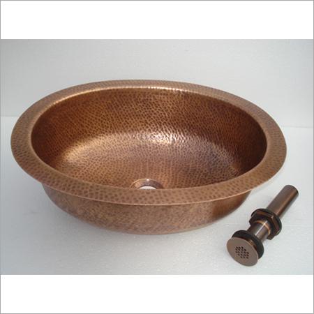Undermound Ellipse Hammered Copper Sink