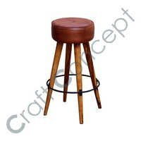 ROUND LEATHER SEAT BAR STOOL