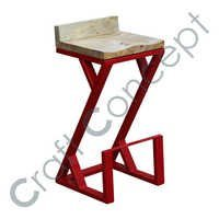 RED METAL Z BAR STOOL