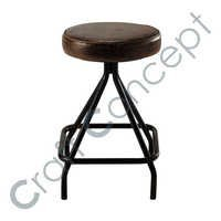 Round Leather Seat Stool