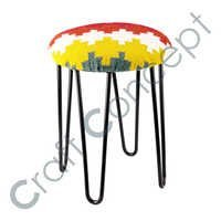 METAL & WOOLEN STOOL