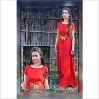 Red Plain Gown