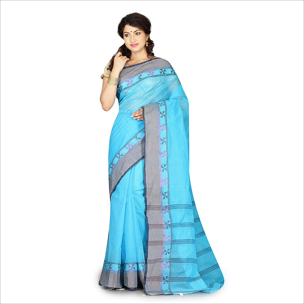 Ladies Sky Blue Color Saree With Cotton Blouse