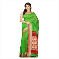 Ladies Green Saree With Cotton Blouse