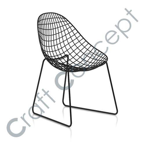BLACK METAL OVAL SEAT CHAIR