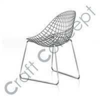 SILVER METAL OVAL SEAT CHAIR