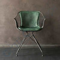 METAL WITH GREEN SEAT CHAIR