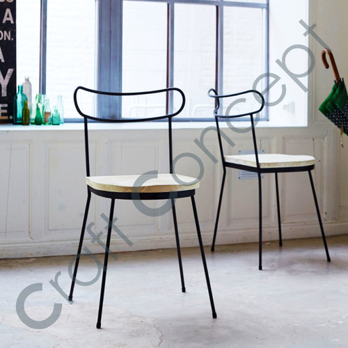 BLACK METAL WITH WOOD SEAT CHAIR