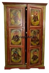 Wooden Hand Painted Rajasthani Style Ethnic Almirah Storage