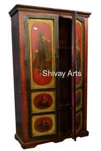 Wooden Ethnic Style Hand Painted Raja Rani Rajasthani Almirah Storage Unit