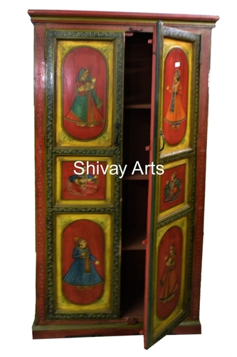 Wooden Ethnic Style Hand Painted Rajasthani Almirah Storage Unit