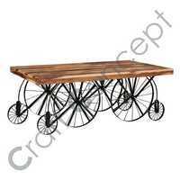 WOOD & METAL CART TABLE