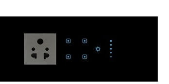 Touch 4 Switch & 1 Dimmer  (with Socket)