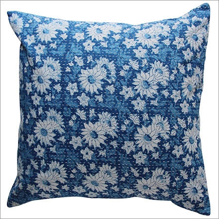 Indigo Blue Kantha Cushion Cover
