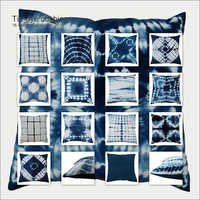 Indigo Blue Shibori Print Cushion Cover