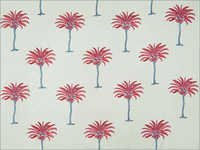 Hand Block Print Palm Tree Fabric