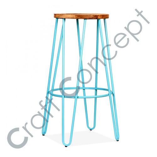 HAIRPIN BLUE METAL BAR STOOL