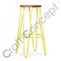 HAIRPIN YELLOW METAL BAR STOOL