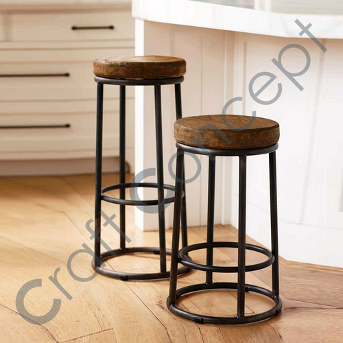 BLACK METAL & WOOD BAR STOOL