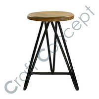WOODEN SEAT METAL BAR STOOL