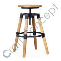 REVOLVING  SEAT WOOD BAR STOOL