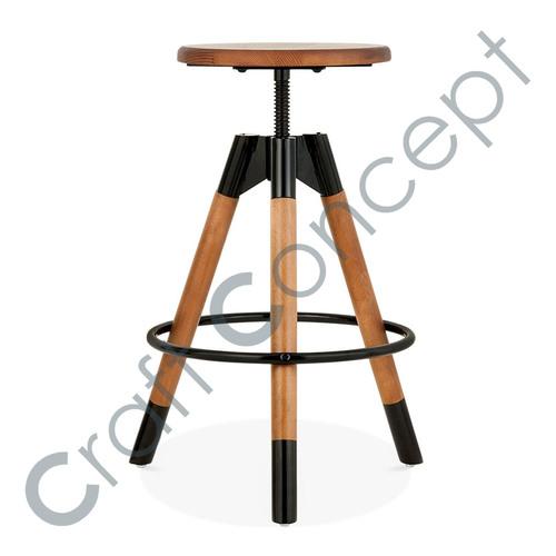 REVOLVING  SEAT WOOD BAR STOOL