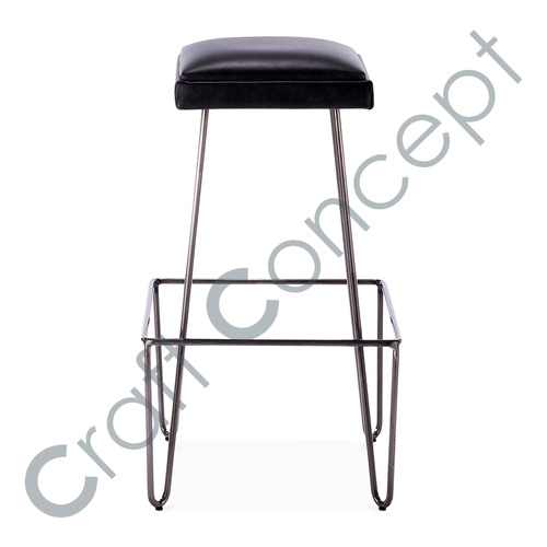 LEATHER SEAT METAL BAR STOOL