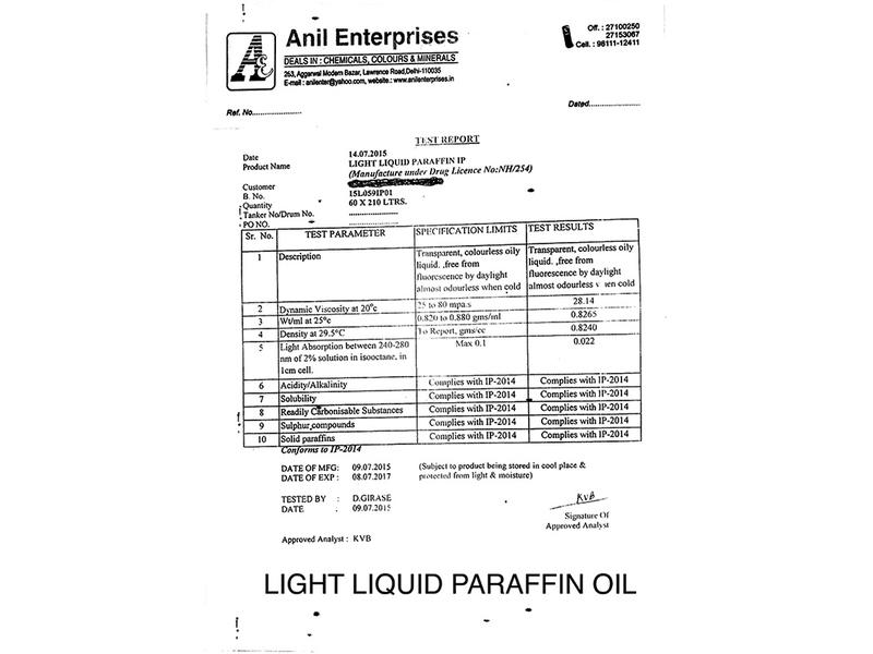 Light Liquid Paraffin Oil