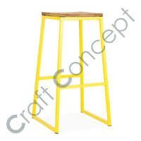 YELLOW SQUARE METAL BAR STOOL