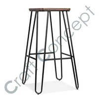 SQAURE HAIRPIN METAL BAR STOOL