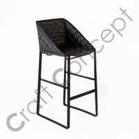 BLACK LEATHER & METAL BAR CHAIR