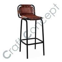 BROWN LEATHER & METAL BAR CHAIR