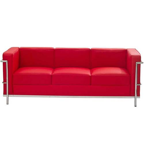 Red Leather Sofa With Chrome Legs
