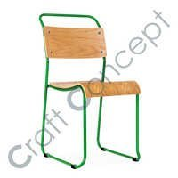 GREEN METAL & WOOD TRAM CHAIR