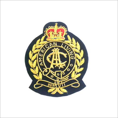 Hand Made Bullion Wire Embroidered Blazer Badge