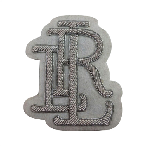 Hand Made Silver Thread Embroidered Badge