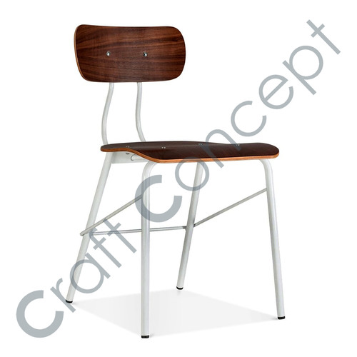 WOOD & WHITE METAL CHAIR