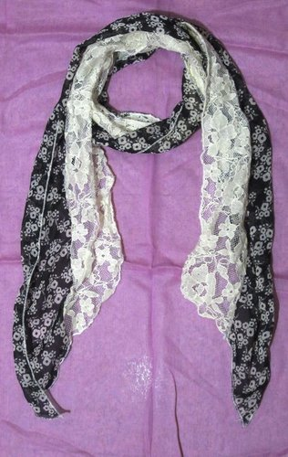 Printed Stole With Lace Scarves