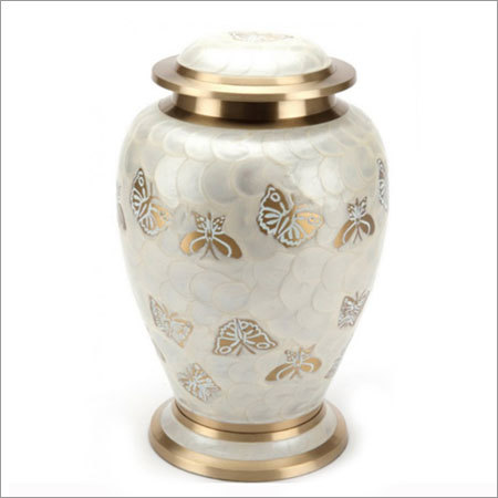2041-L Butterfly Enamel Cremation Urns