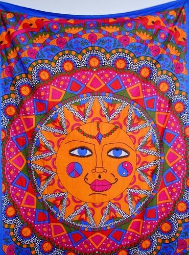 Face Print Mandala Wall Tapestries