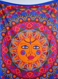 Face Print Mandala Wall Tapestries