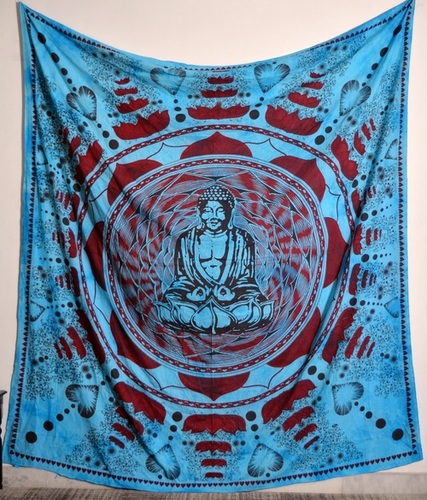 Indian Dark Blue Buddha Printed Wall Tapestries
