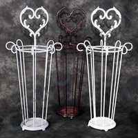 WHITE/ BRONZE METAL UMBRELLA STAND