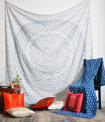 Off White Flower Printed Wall Tapestries