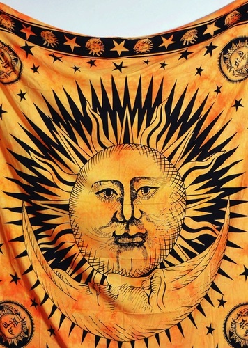 Sun Moon Printed Indian Wall Tapestry
