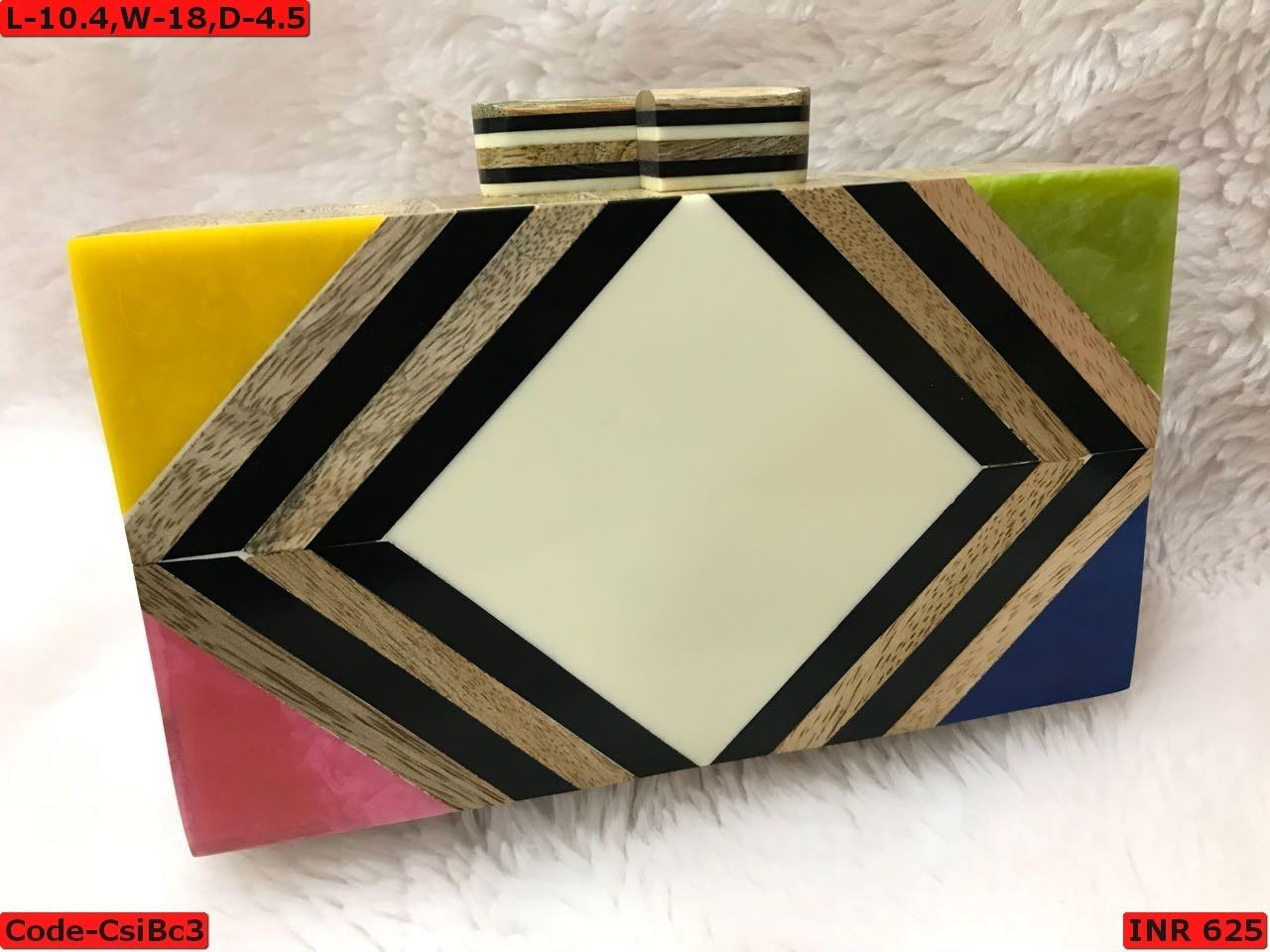 Resin Multi Color Box Clutch