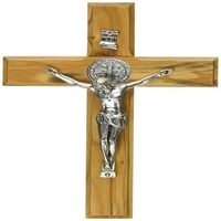 Holy Land Handmade St. Saint Benedict Wall Wood Cross Crucifix Silver Plated
