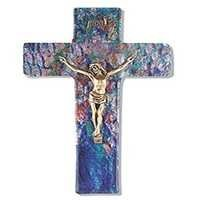 Glass Cross Crucifix With SAPPHIRE BLUE MULTI-COLORED GLASS CROSS WITH GOLD CORPUS10